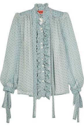 RONALD VAN DER KEMP Ruffled printed silk-chiffon blouse