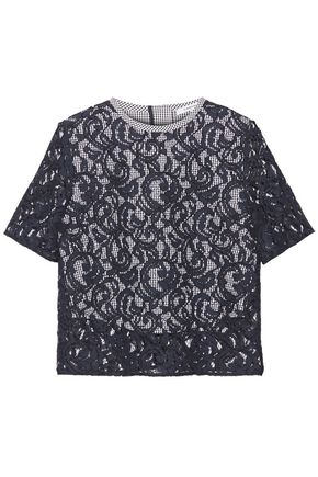 CARVEN Lace and gingham cotton top