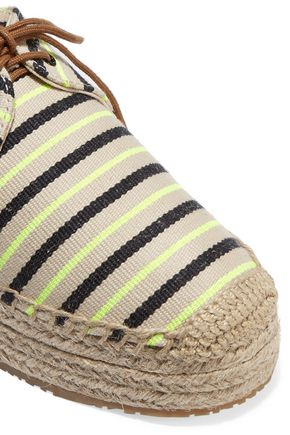 TORY BURCH Striped canvas lace-up espadrilles