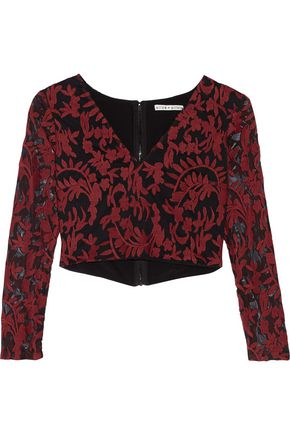 ALICE+OLIVIA Leilani cropped embroidered tulle top