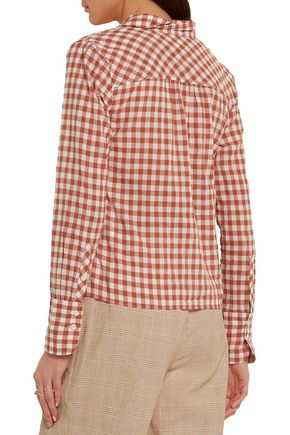 J.CREW Tie-front gingham stretch-cotton shirt