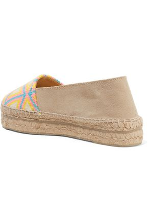 MANEBÍ Woven canvas and suede espadrilles