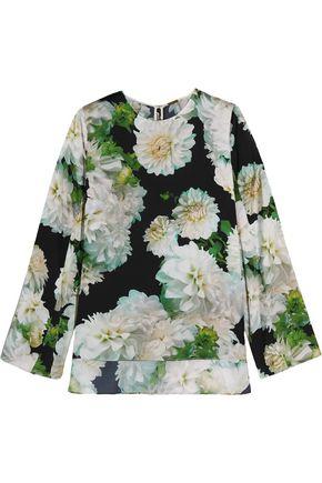 ADAM LIPPES Floral-print satin top