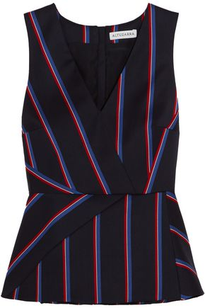 ALTUZARRA Miles striped wool and cotton-blend peplum top