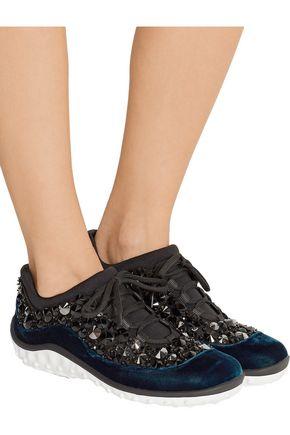 MIU MIU Velvet-trimmed crystal-embellished mesh sneakers
