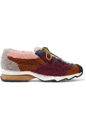 FENDI Patchwork shearling sneakers