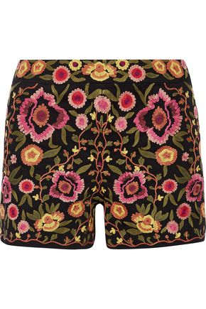 ALICE + OLIVIA Marisa embroidered stretch-cotton shorts