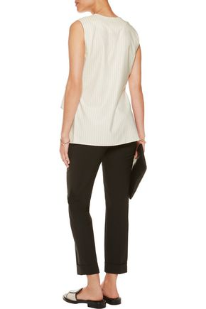 DEREK LAM 10 CROSBY Tiered pinstriped wool-blend and cotton-poplin top