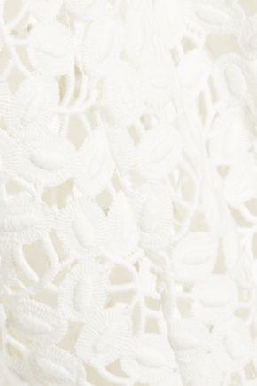 LELA ROSE Cotton-blend guipure lace peplum top