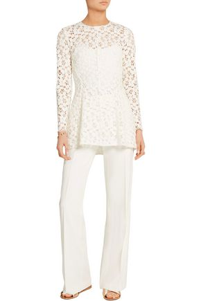 LELA ROSE Cotton-blend guipure lace peplum top