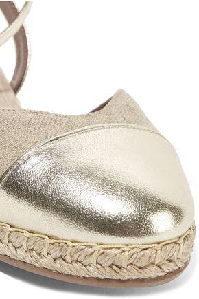TABITHA SIMMONS Sebille metallic leather-trimmed espadrilles