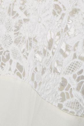IRO Daifik guipure lace-paneled crepe top