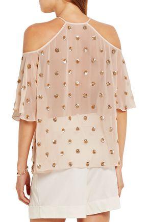 TEMPERLEY LONDON Jolie sequin-embellished georgette blouse