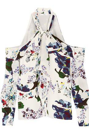 ERDEM Aila pussy-bow cutout silk crepe de chine blouse