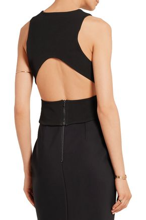 DION LEE Cropped cutout stretch-ponte top