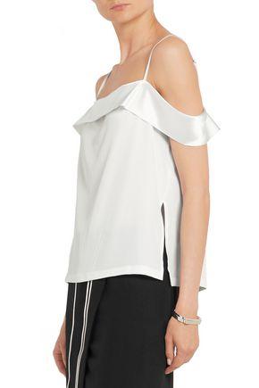 DION LEE Off-the-shoulder satin-trimmed silk-crepe camisole