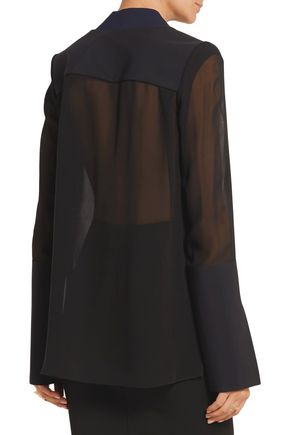 DION LEE Tech jersey-paneled silk-chiffon blouse