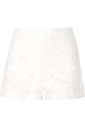 THEORY Embroidered cotton and linen-blend shorts