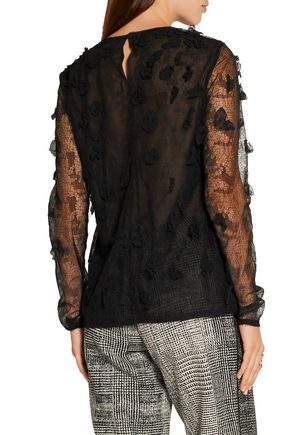 JASON WU Floral-appliquéd lace and tulle top