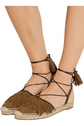 AQUAZZURA Pocahontas leather-trimmed suede espadrilles