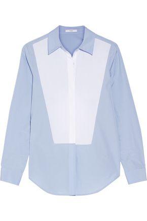 TOME Open-back two-tone cotton-poplin shirt