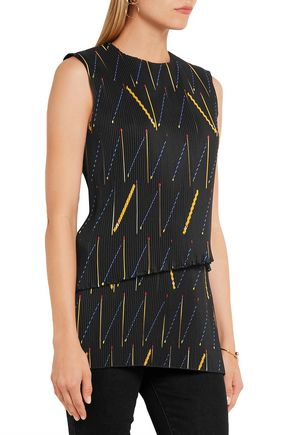 VICTORIA BECKHAM Pleated printed crepe de chine top