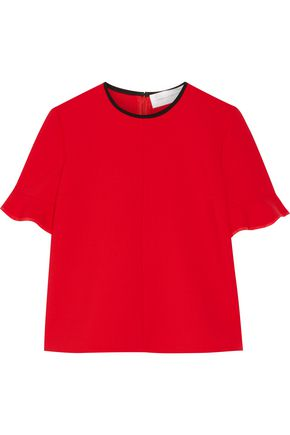 VICTORIA, VICTORIA BECKHAM Silk-trimmed stretch wool-blend top