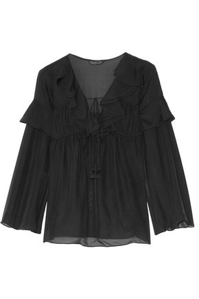 RACHEL ZOE Anna ruffled silk-georgette top
