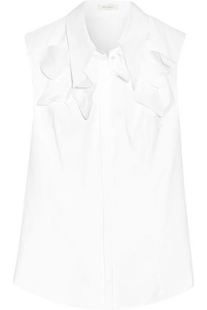 DELPOZO Appliquéd cotton-poplin shirt