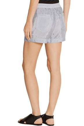 T by ALEXANDER WANG Striped crepe de chine shorts