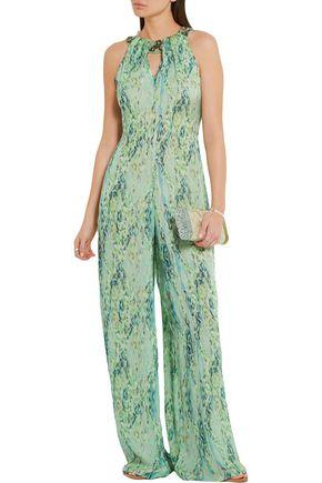 MATTHEW WILLIAMSON Embellished snake-print silk-chiffon jumpsuit