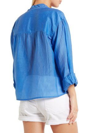 ISABEL MARANT ÉTOILE Laper gathered cotton and silk-blend voile blouse