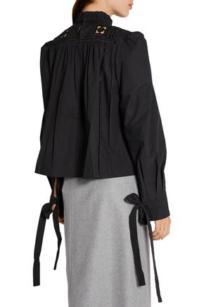 ISABEL MARANT Skara broderie anglaise-trimmed cotton-poplin blouse