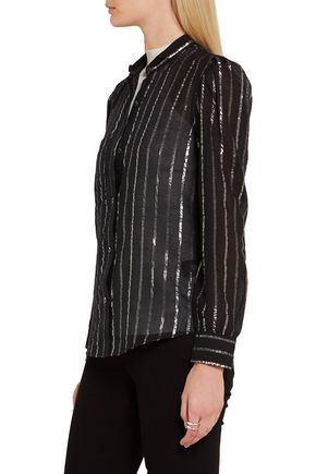 ISABEL MARANT ÉTOILE Samson metallic-trimmed cotton-gauze blouse