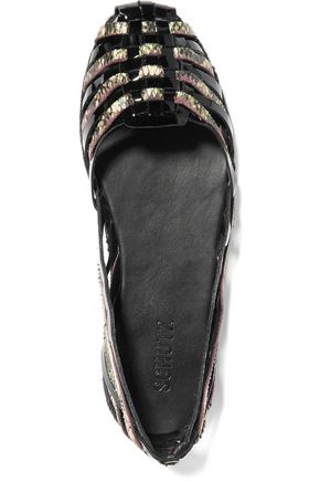 SCHUTZ Cisco patent and snake-effect leather espadrilles