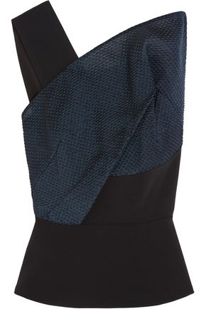 ROLAND MOURET Semley one-shoulder organza-paneled crepe top