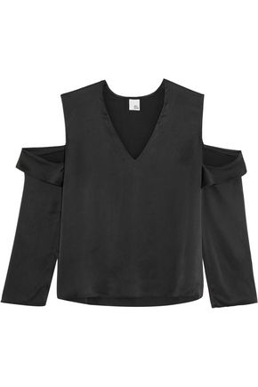 IRIS & INK Cutout washed-silk top