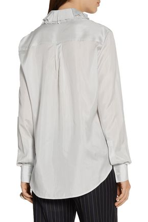 JOSEPH Evert ruffled pinstriped silk-satin shirt
