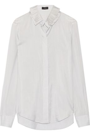 JOSEPH Evert ruffled pinstriped silk-satin shirt