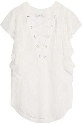 IRO Gilka lace-up devoré chiffon blouse