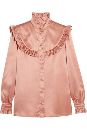 SAINT LAURENT Ruffled silk-satin blouse