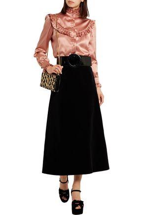 SAINT LAURENT Ruffled silk-satin blouse