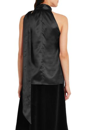 SAINT LAURENT Silk-satin halterneck top
