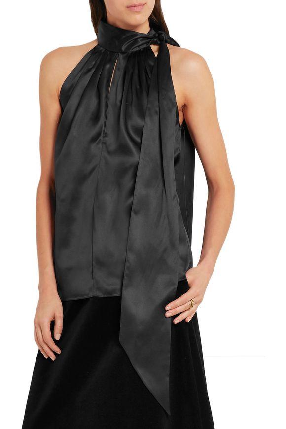 Silk-satin halterneck top | SAINT LAURENT | Sale up to 70% off | THE OUTNET