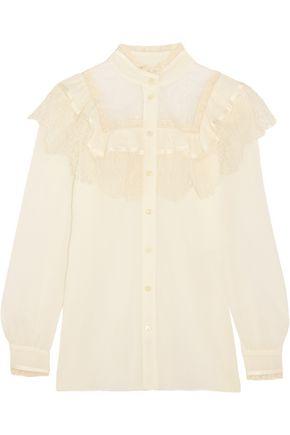 SAINT LAURENT Ruffled lace-paneled cotton and silk-blend blouse
