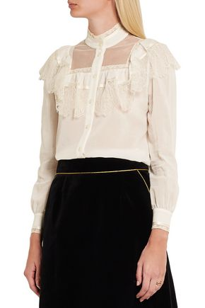 SAINT LAURENT Ruffled lace-paneled cotton and silk-blend blouse