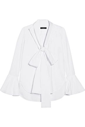 ELLERY Little Me pussy-bow cotton-poplin shirt