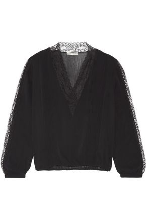 ALICE + OLIVIA Kaitlyn lace-trimmed stretch-chiffon blouse
