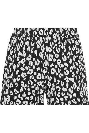 PRISM Leopard-print stretch-jersey shorts