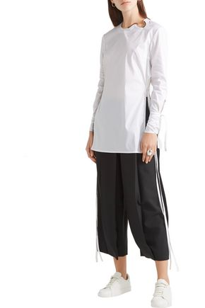 ESTEBAN CORTAZAR Embellished stretch cotton-blend poplin tunic